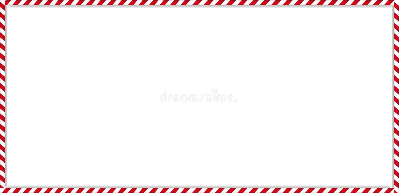Rectangle candy cane frame with red and white striped lollipop pattern on white background. stock illustration