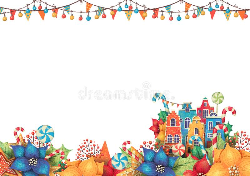 Rectangle christmas frame for card or invitation with houses, poinsettia, lollipop, candy, garland, berry. Hand drawn illustration royalty free illustration