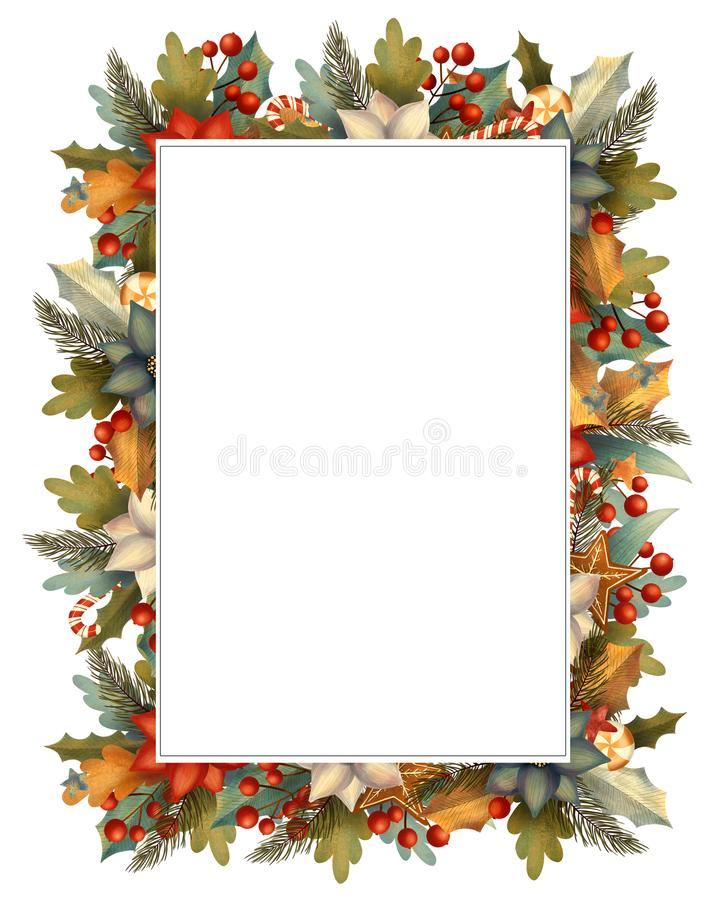 Rectangle christmas frame for card or invitation with poinsettia, lollipop, candy, gingerbread, berry, leaves, branches. Hand drawn illustration royalty free illustration