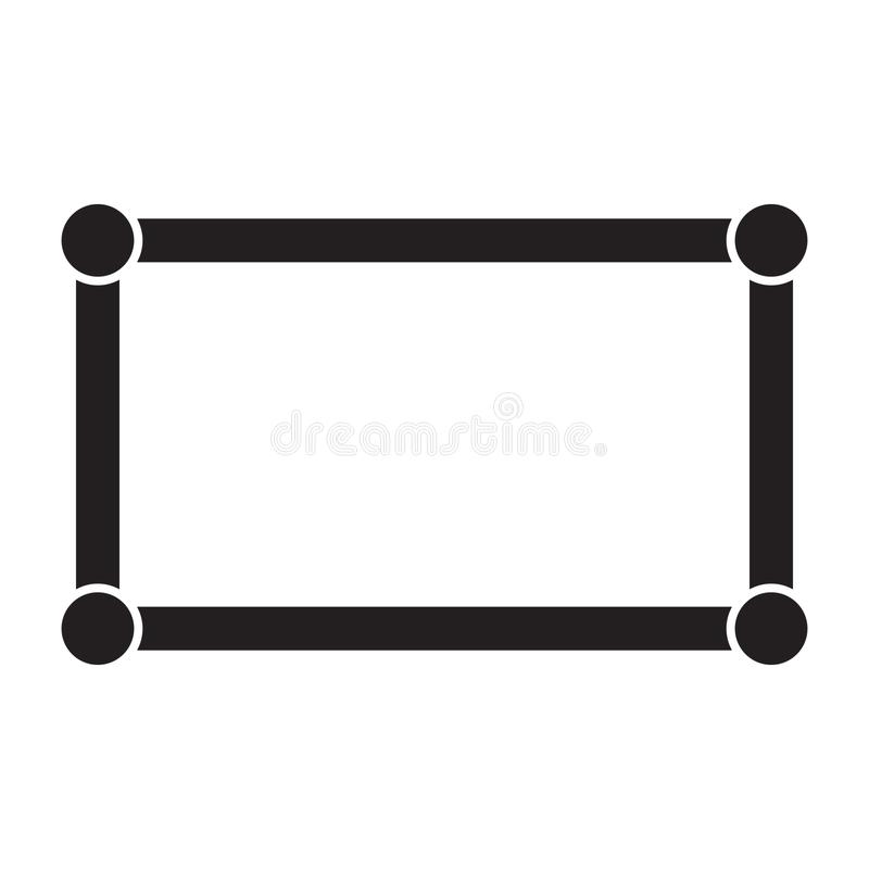 Rectangle frame with circles in corners, vector illustration. On white background vector illustration