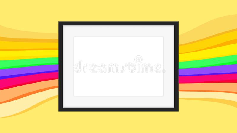 Rectangle frame empty on colorful rainbow background, picture frames on colorful fashionable, blank frames decoration with rainbow. The rectangle frame empty on vector illustration