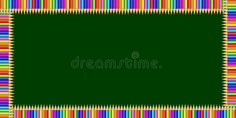 Rectangle frame made of colorful pencils on green chalkboard background and copy space. Vector multicolored rectangle frame made of colorful rainbow pencils on vector illustration