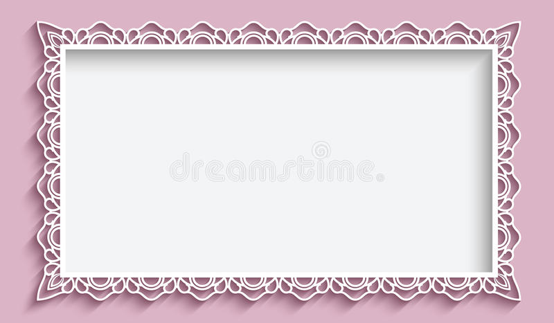 Rectangle Frame With Paper Lace Border Stock Vector