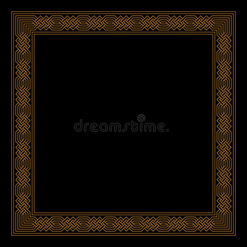 Rectangle frame with seamless islamic pattern. ancient repeated motif. vector meandros. gold decorative border on black background. Vector rectangle frame with vector illustration