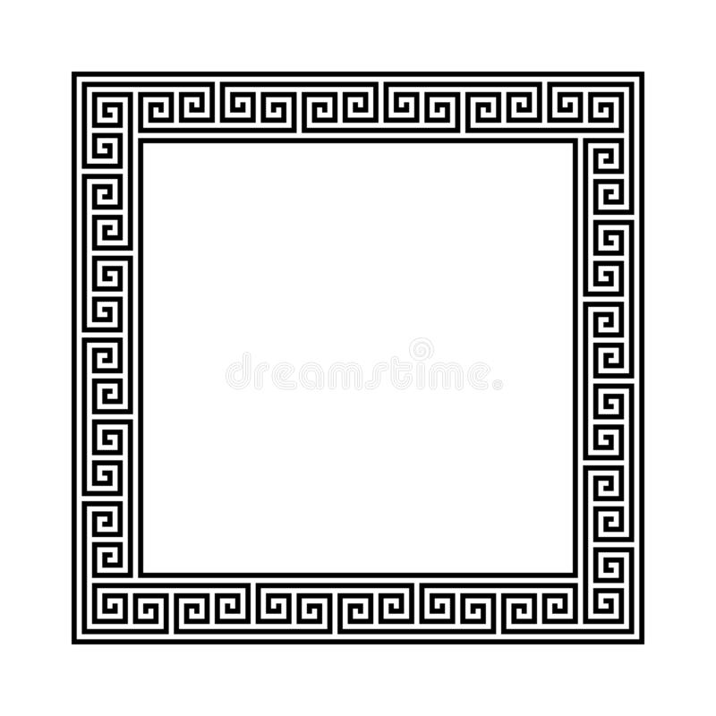 Rectangle frame with seamless meander pattern. greek fret repeated motif. greek key. meandros decorative vector border. Simple black and white background vector illustration
