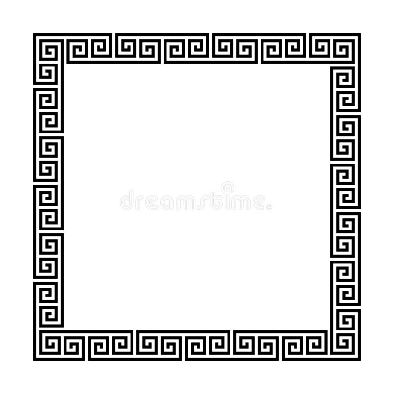 Rectangle frame with seamless meander pattern. greek fret repeated motif. greek key. meandros vector decorative border. Rectangle frame with seamless meander royalty free illustration