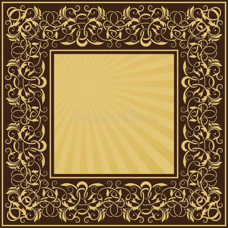 Rectangle gold frame vector illustration