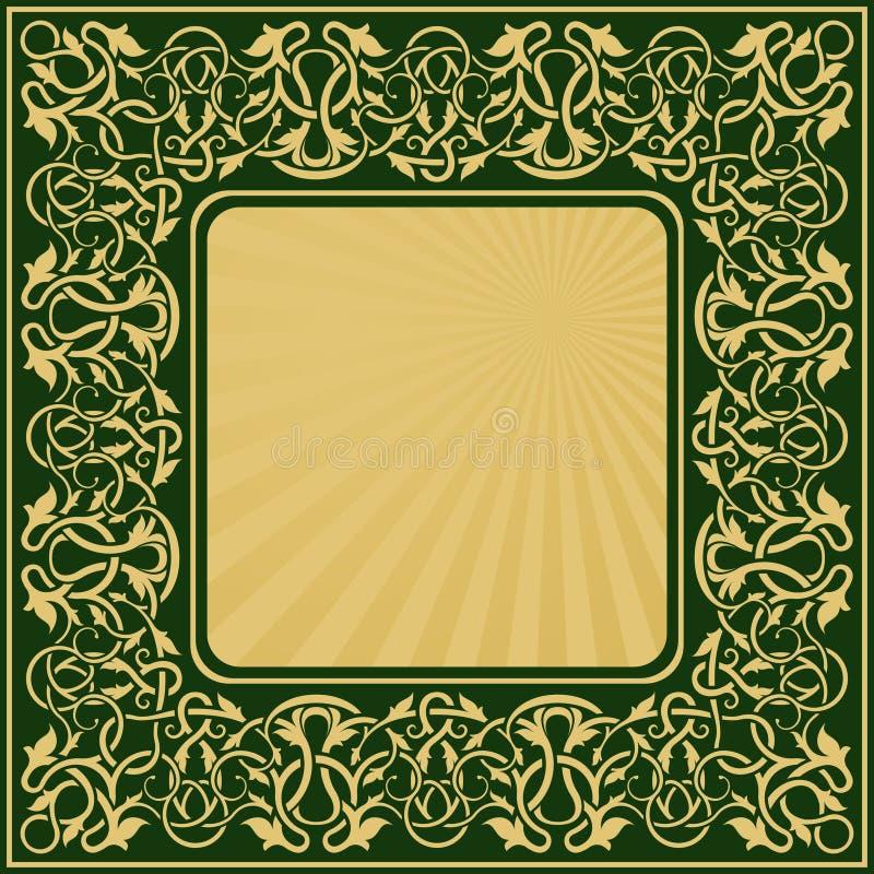 Rectangle gold frame royalty free illustration