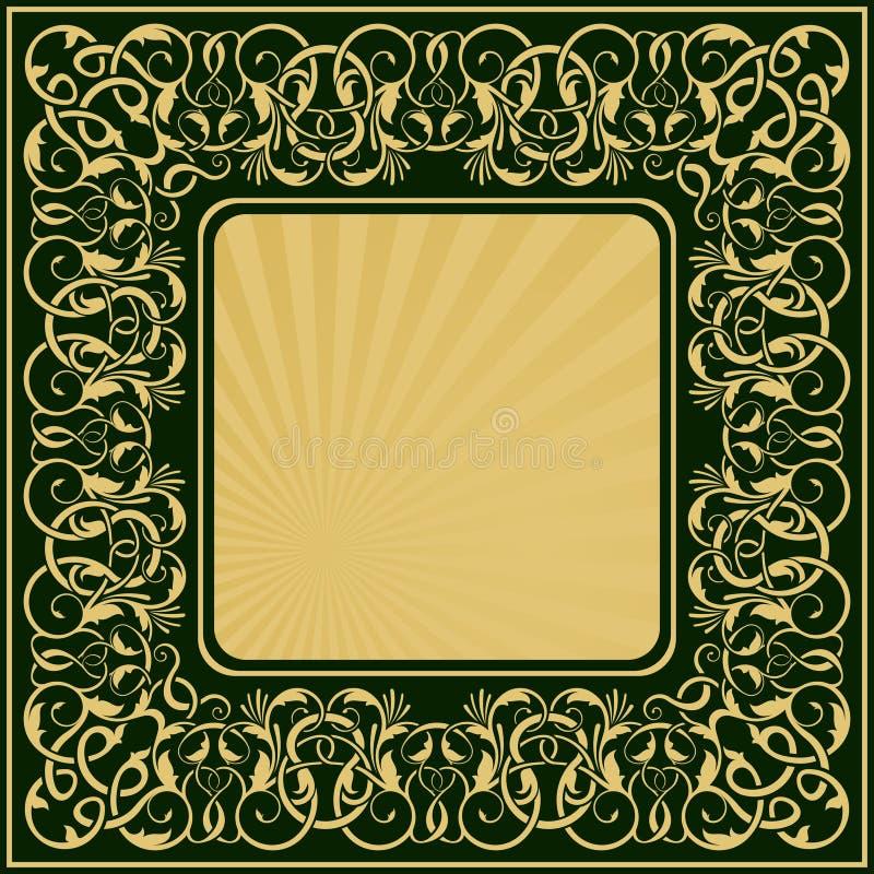 Rectangle gold frame stock illustration