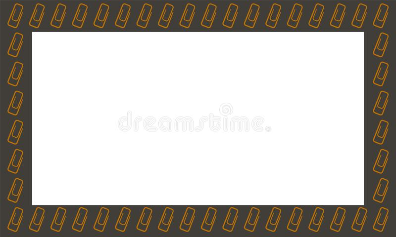 Rectangle horizontal black frame with gold clips. Rectangle horizontal black frame with gold paperclips. White place for text. Vector royalty free illustration