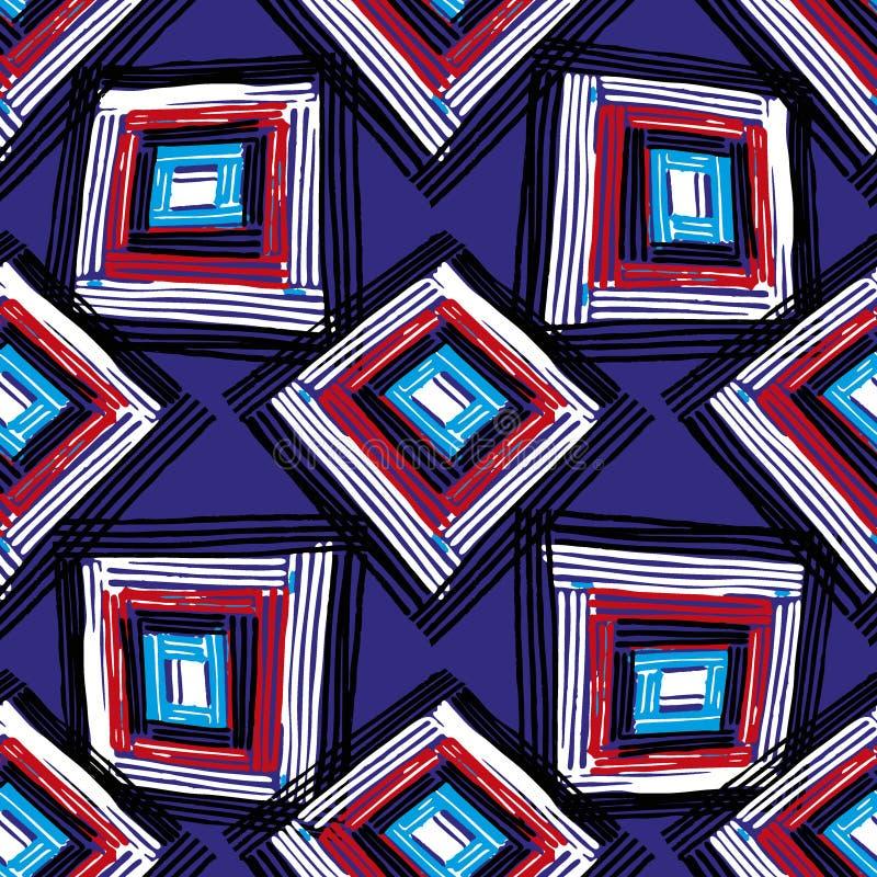 Rectangle mandala pattern. Rectangle mandala hand drawn seamless vector pattern. Geometric romb print in vector pattern. Hand drawn fashion stylish pattern stock illustration