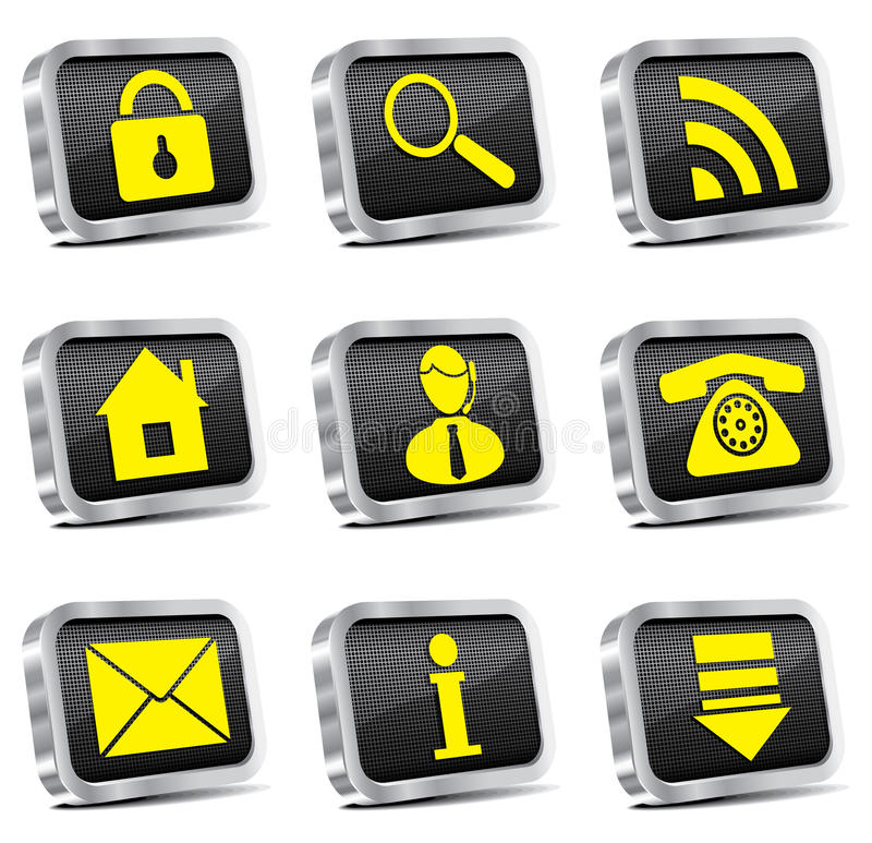 Download Rectangle Metal Web Icon Set Stock Vector - Image: 14219678