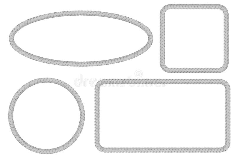 Rectangle, Oval, Circle And Square Shape, Frame From Gray Rope For ...