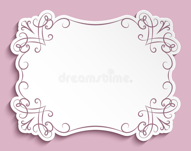 Rectangle Paper Frame Greeting Card Template Stock Vector