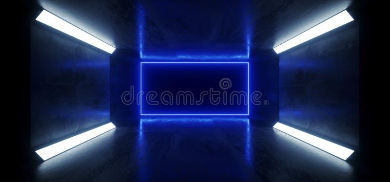 Rectangle Sci Fi Futuriste Grunge De Béton Souterrain Laser Géant Laser Flou Laser Réfléchissant Lasers Purple Blue Studio Éclair illustration libre de droits