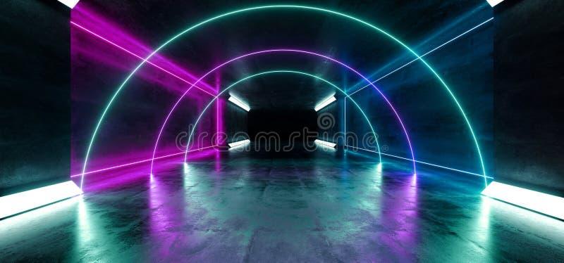 Rectangle Sci Fi Futuriste Grunge De Béton Souterrain Laser Géant Laser Flou Laser Réfléchissant Lasers Purple Blue Studio Éclair illustration de vecteur