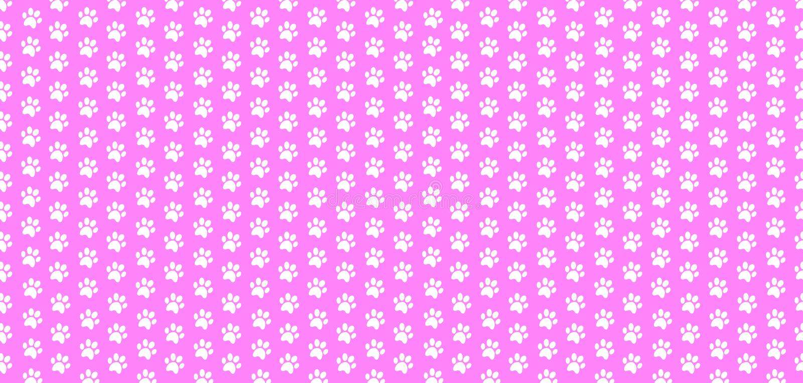 Rectangle seamless baby pattern of white animal paw prints on pink background. royalty free illustration