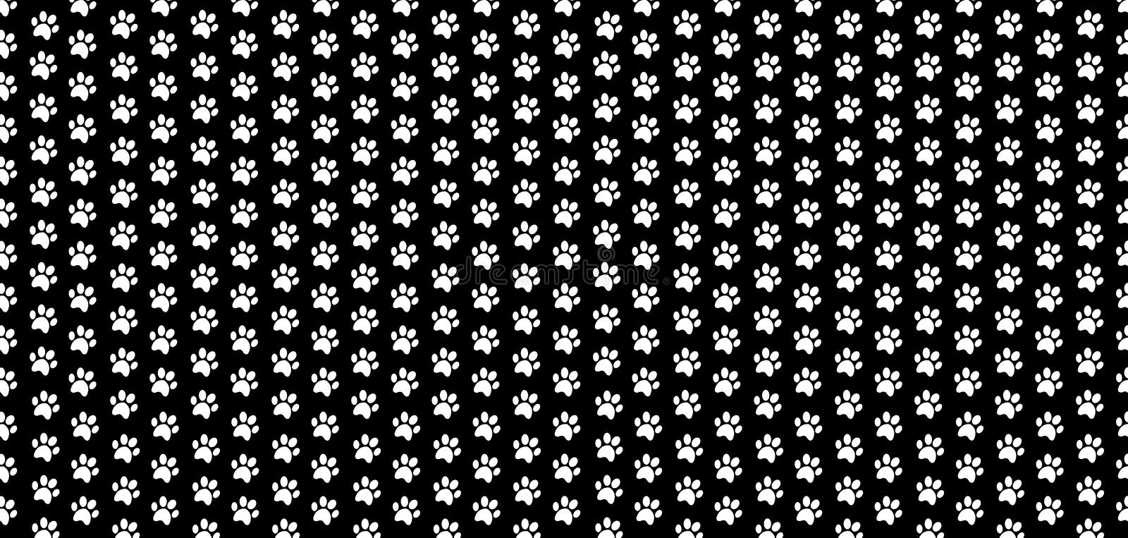 Rectangle seamless banner with white animals paw prints on black background. Rectangle seamless pattern of white animal paw prints on black background. Vector stock illustration