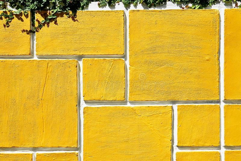 Rectangle shaped grid design of a concrete garden wall fence stock photo