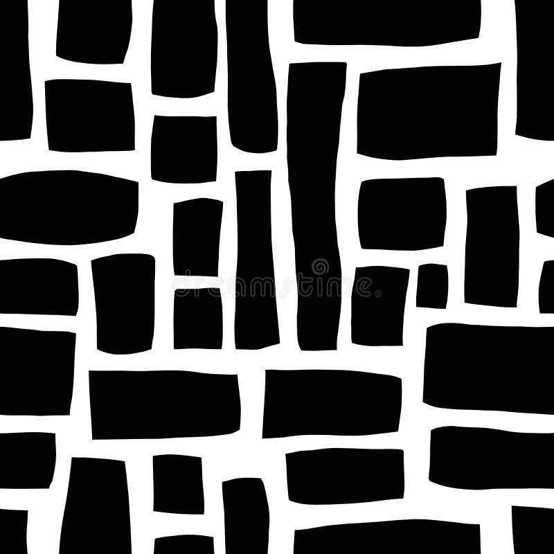 Rectangle shapes monochrome hand drawn abstract seamless vector pattern. Black blocks on white background. Hand drawn background. Rectangle shapes monochrome stock illustration
