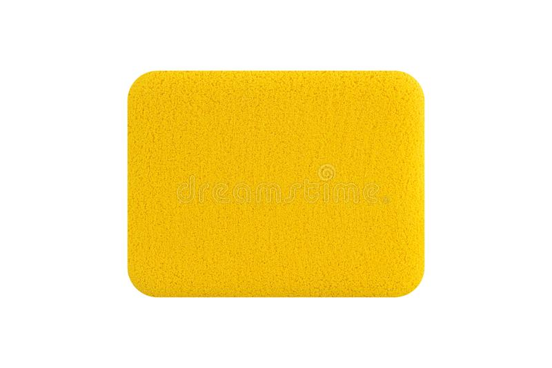 Rectangle yellow cosmetic sponge pad for face cleaning, isolated on white background, clipping path included.  royalty free stock image