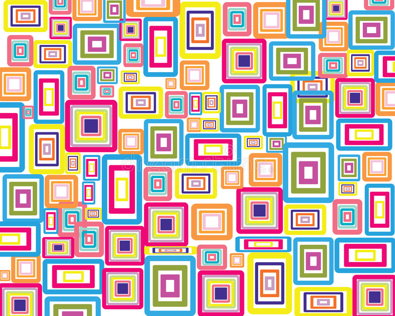 Rectangles background. Rectangle stroke elements vector background in different coloros stock illustration