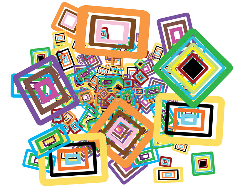 Rectangles background. Rectangle stroke elements vector background in different colors vector illustration