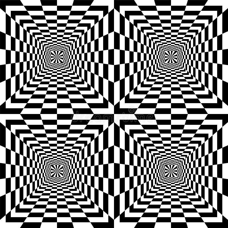 Rectangles noirs et blancs sans couture augmentant du centre illustration libre de droits