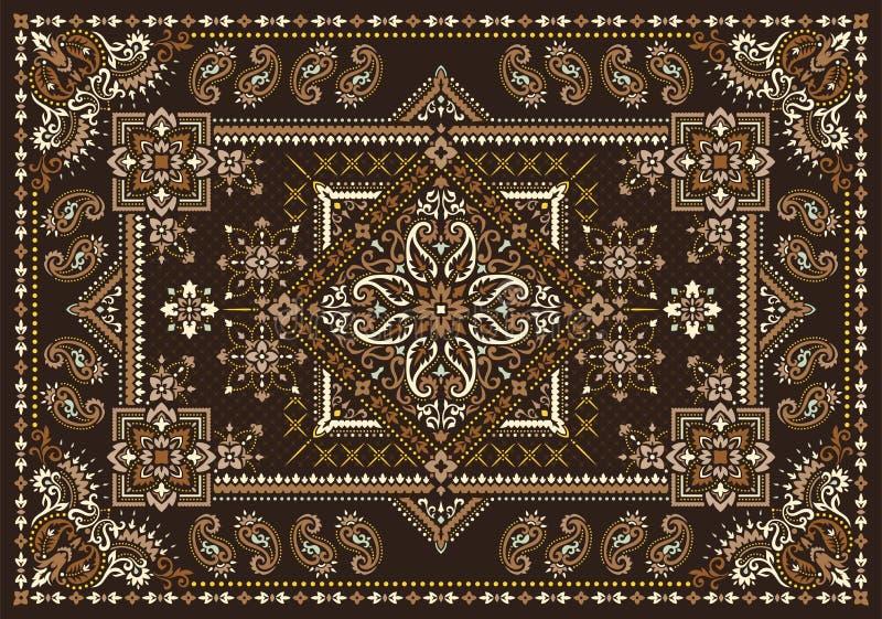 Rectangular Bandana Print vector design for rug, carpet, tapis, shawl, towel, textile, yoga mat. Neck scarf or kerchief pattern royalty free stock images