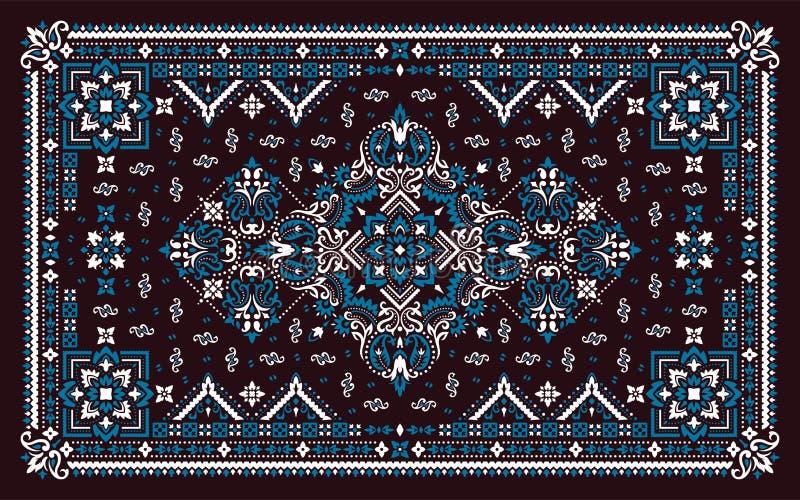 Rectangular Bandana Print vector design for rug, carpet, tapis, shawl, towel, textile, yoga mat. Neck scarf or kerchief pattern royalty free stock photos