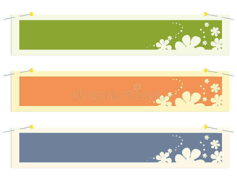 Rectangular banner flower stickers stock illustration