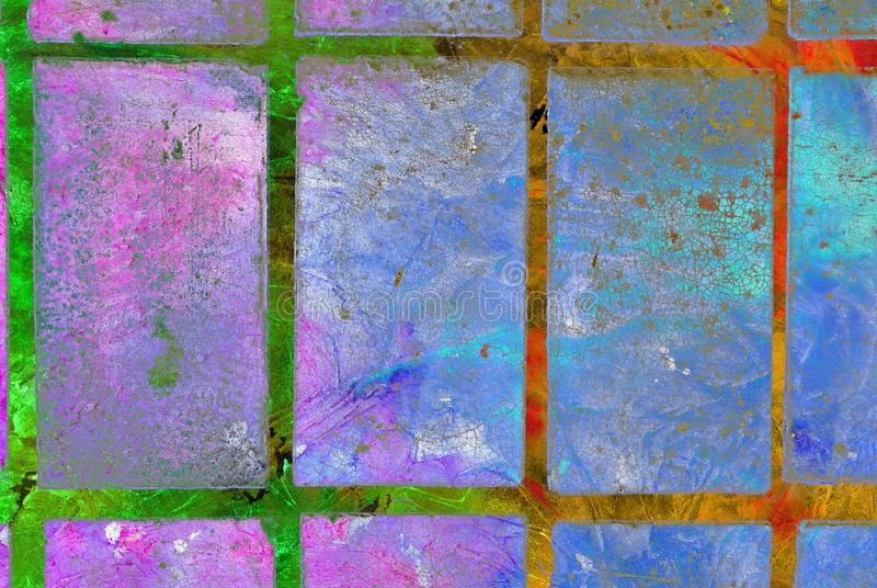 Mixed media artwork, abstract colorful artistic painted layer in blue, pink, green, red color palette on grunge slab stock photography