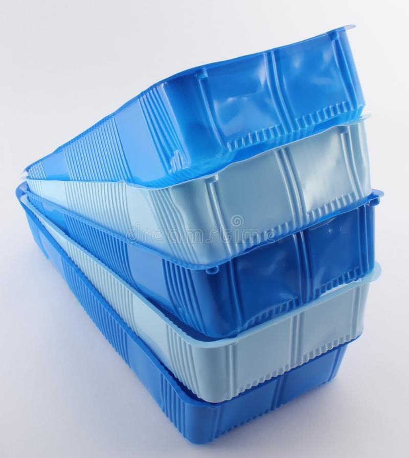 Rectangular boxes for food. Rectangular blue plastic boxes for food royalty free stock images