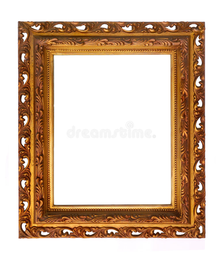Rectangular Decorative Picture Frame. Brass colored picture frame isolated on white. Ornate carvings royalty free stock photos