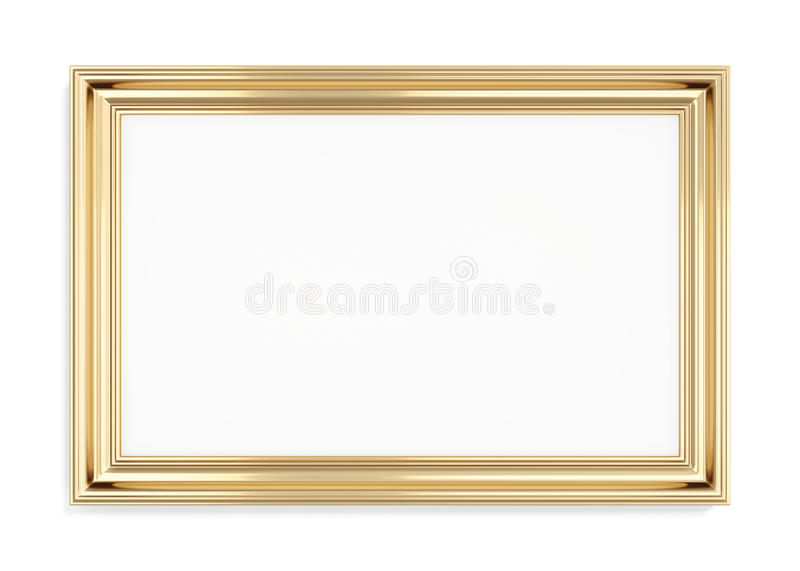 Rectangular gold picture frame on a white background. 3d rendering vector illustration