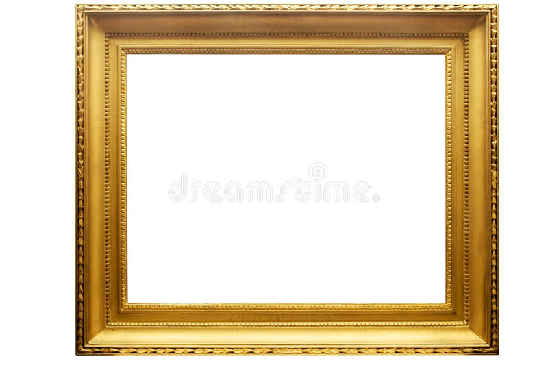 Rectangular Golden Picture Frame w/ Path royalty free stock photo