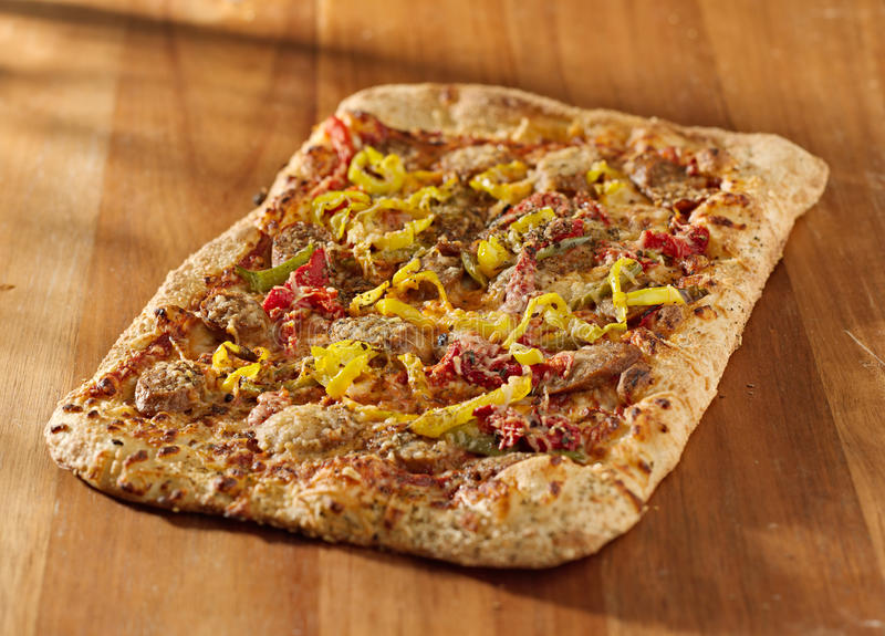 Download Rectangular Gourmet Pizza With Sausage And Colorfu Stock Image - Image of fast, dish: 22799151