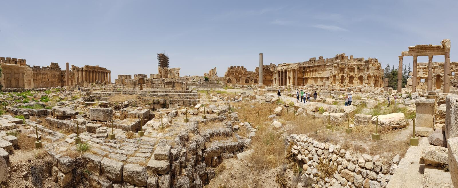 The rectangular Great Court. The ruins of the Roman city of Heliopolis or Baalbek in the Beqaa Valley. Baalbek, Lebanon. The rectangular Great Court. The ruins stock photo