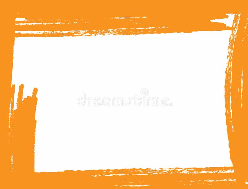 Rectangular grunge background with orange edges drawn by rough brush. Watercolor, paint, sketch. vector illustration