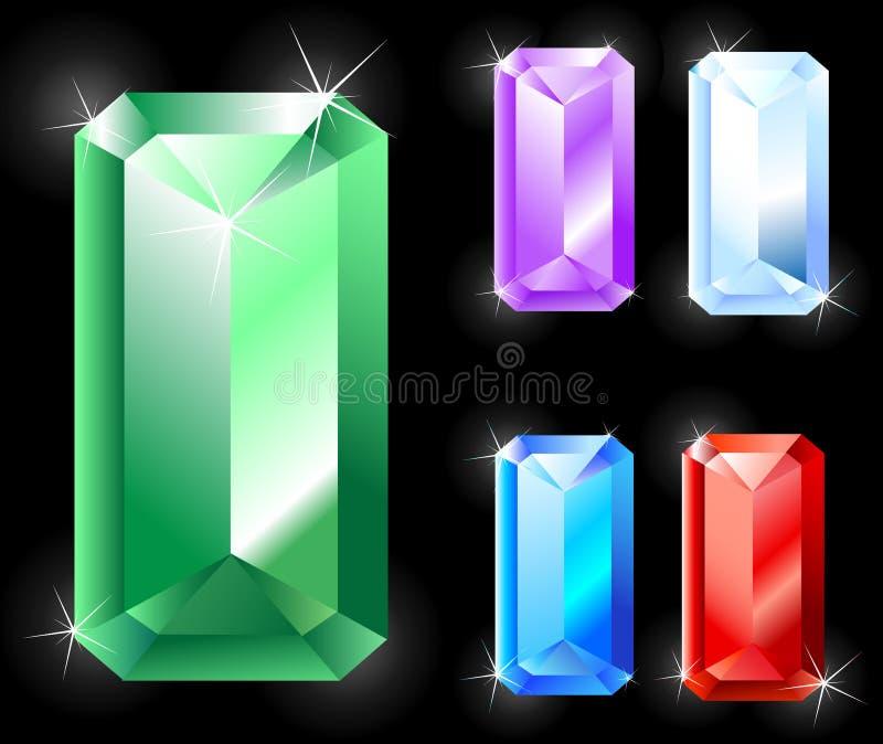 Rectangular jewels. Rectangular sparkling precious stones: emerald, ruby, amethyst, sapphire vector illustration