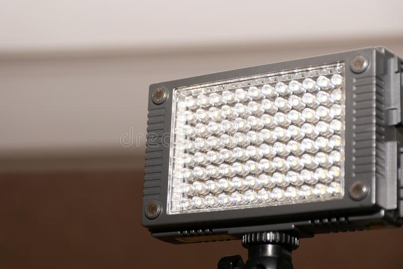 Rectangular lantern with LEDs. Additional lighting for camcorders stock photo