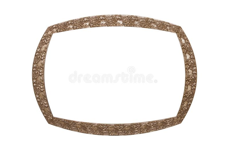 rectangular metal vintage frame. isolated on white royalty free stock photography