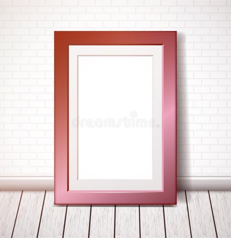 Rectangular pink frame on a white brick wall royalty free illustration