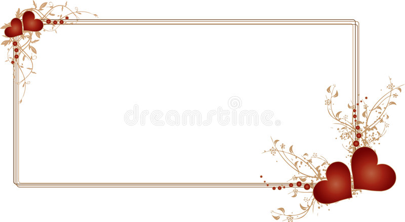 Rectangular Red Frame with Hearts and Flowers royalty free illustration