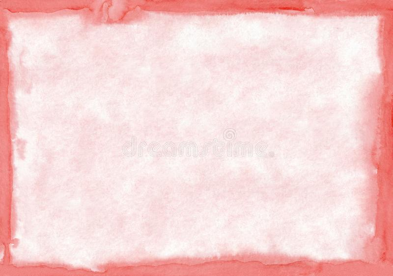 Rectangular regularly shaped light red watercolour background. Beautiful abstract canvas for congratulations, valentines stock illustration