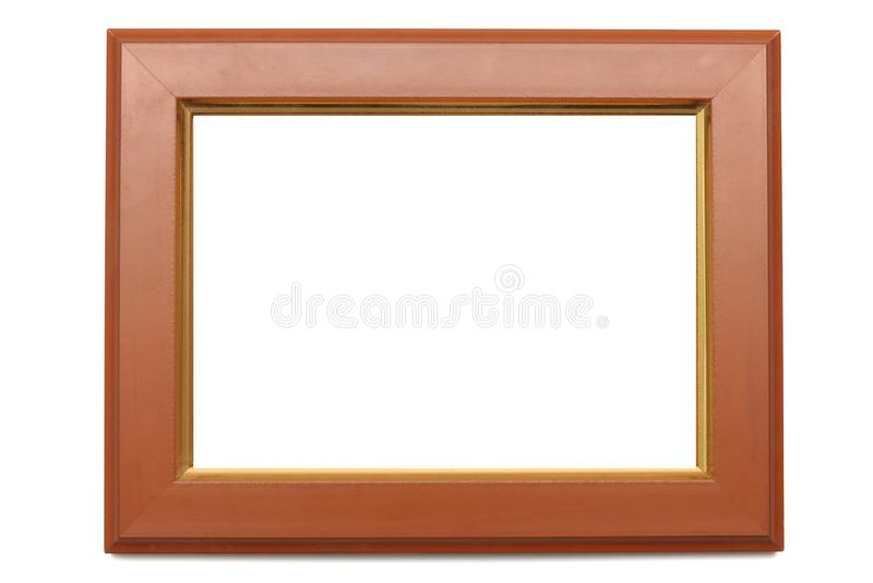 A rectangular shaped photo frame with edges of made of wood. stock images