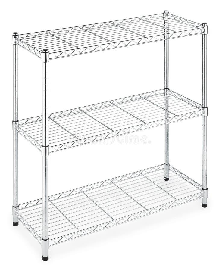 Rectangular three metal shelves rack. Isolated stock photography