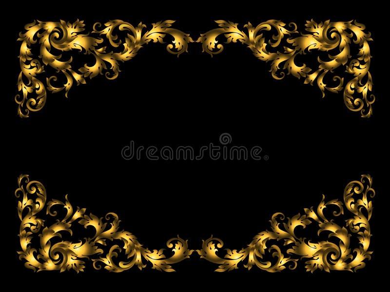 Rectangular vignette frame made of golden leaves and petals on a black base. Baroque elements scrolls,rich gold gradients royalty free illustration
