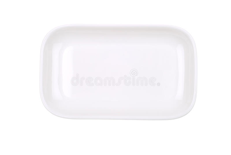 The Rectangular White Dish On White Stock Image
