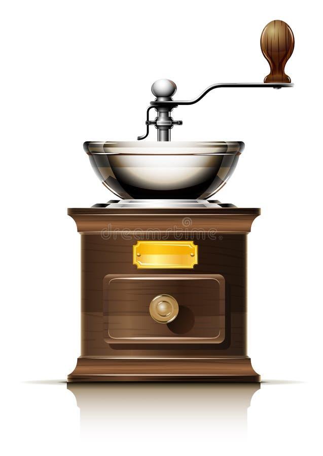 Rectifieuse de café classique dans le cas en bois illustration libre de droits